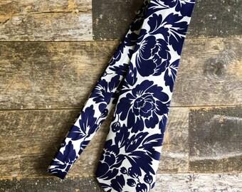 Blue and White Block Print Floral Necktie Mens Tie