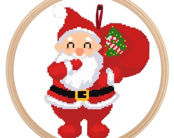 Christmas Cross Stitch Pattern - Santa Ornament - Holiday Counted Cross Stitch Design - PDF - Instant Download