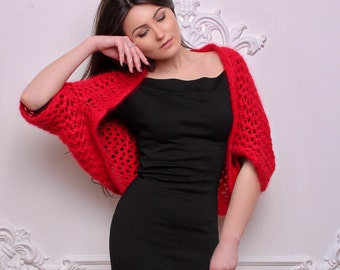 Sale - Angora wool bolero - Angora wool shrug - Hand knitted bolero - Knit Bolero - Red bolero - Red Shrug - Knitted Shrug - Evening Bolero