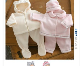 Sewing Pattern for Infants' Jacket, Pants and Hat, Kwik Sew Pattern 3127, Babies Winter Fleece Sets, Boy Girl, Footed or Not, Hooded Jacket