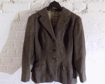 Vintage Brown Hand Tailored Tweed Blazer Jacket - UK 8 EU 36 US 6