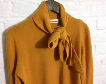 Vintage 1970's Mustard Yellow / Orange Knit Jumper with Bow Collar Detail - S/M Size