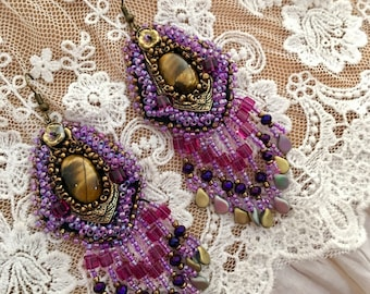 embroidered earrings pearls and arabesque