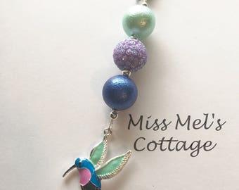 Lovely Hummingbird and Chunky Beads Keychain/Zipper Pull Charm