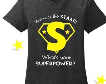 STAAR Superhero Teacher Tee
