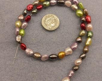 Fresh water pearls 7mm multicoloured beads semi precious
