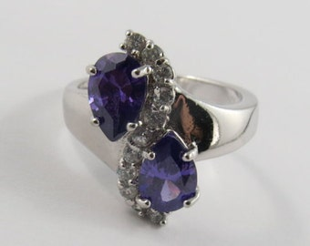 Ladies Sterling Silver Pear Shaped Ring With Purple Stones & Round White Stones - SIZE 91/4