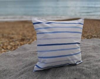 Sea Stripe Cushion, Nautical, seaside, stripes, picnic, home, decor,