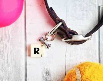 Dog tag, Dog collar charm, pet collar charm, bone charm, name initial tag, scrabble letter charm, dog, dog accessory