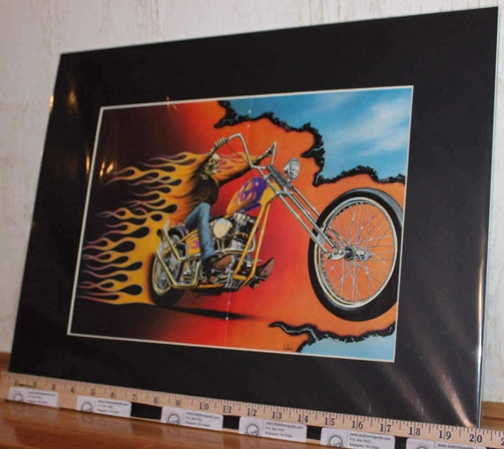 "David Mann ""Flyin' Flamin' Phantom"" 16'' x 20'' Matted Motorcycle Biker Art #9008ezrxm"