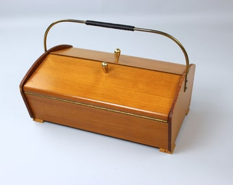 Mid century sewing box sewing box wooden Sewing Box wood Vintage 60s