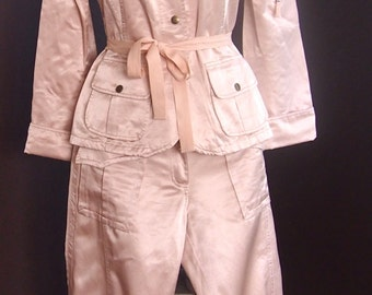 Vintage BISCOTE Made In France Pant Suit Pretty Pale Pink