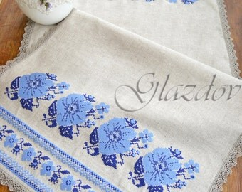 Natural Linen Table Runner with Embroidery, gray table runner, ukrainian embroidery