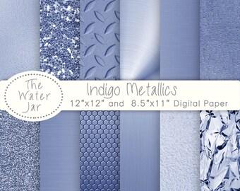 Indigo Metallic digital paper pack with Indigo Blue Metallic Glitter, Light Indigo Metallic Metal Textures, Indigo Metallic foil