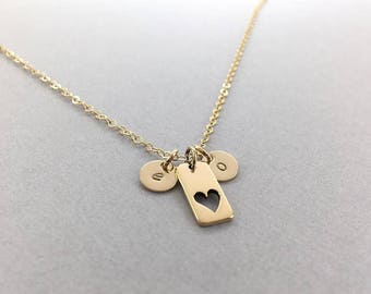 Personalized Mother's Heart Necklace, Gold Heart with Initial Discs, Mommy Hand Stamped Initial Necklace, Grandma Jewelry, Personalized Kids