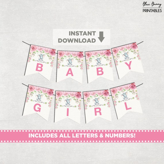 elephant baby shower printable banner all letters numbers pink floral pennant flags roses. Black Bedroom Furniture Sets. Home Design Ideas