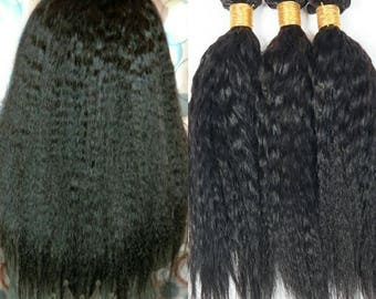 7A Mongolian Kinky Straight 100% Virgin Human Hair Choose Length Natural Thick Double Wefts 300g Weaving Sew In Wig Making