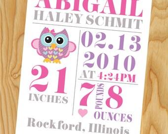 Birth Announcement, Digital Birth Announcement, Birth Announcement Print, Customized Birth Announcement, Personalized Wall Print