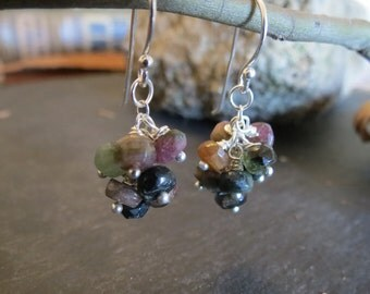Tourmaline Bead Sterling Silver Dangle Cluster Earrings, Silver Chain Earrings, Gemstone Earrings