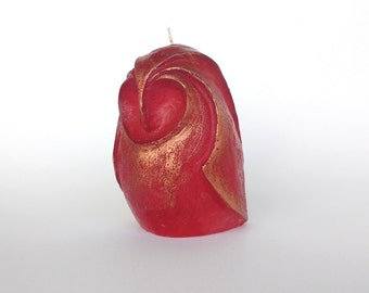 Owl candle Decorative candles Artistic candle  Sculpture candle Gift for her  Red candle  Home decor owl