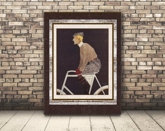 High Resolution Digital Card from a Vintage Poster of Antique Bike Rider. Wall Art or Home Decor of Cyclist on Vintage Bicycle.  DIY Poster