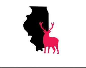 illinois deer svg dxf jpeg png file stencil monogram frame silhouette cameo cricut clip art commercial use