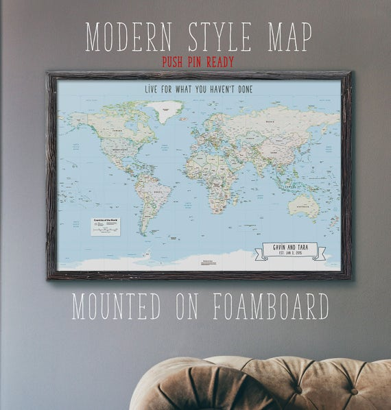 Push pin mounted world travel map modern style foam board like this item gumiabroncs Image collections