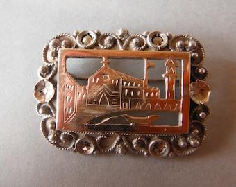 Antique Marcasite Souvenir Brooch