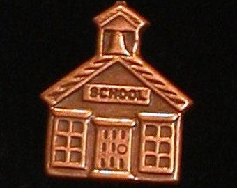 Little Red School House Tack Pin Schoolhouse Copper Teacher Principle Gift TC001