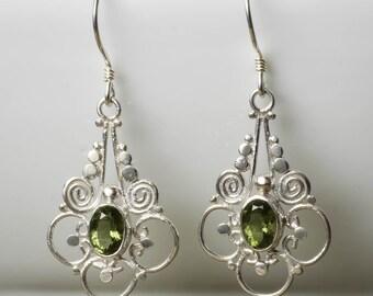 4.5cm Sterling Silver Bezel Set Oval Cut Faceted Moldavite Earrings - Silver Filigree Earrings J543