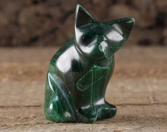 1.3 Inch MALACHITE Stone Cat Carving - Cat Statue, Cat Art, Cat Gift, Cat Figurine, Malachite Crystal, Cat Sculpture, Cat Lovers Gift 36331