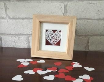Miniature heart papercut, valentines gift, first anniversary gift, framed papercut, unique heart art, love token