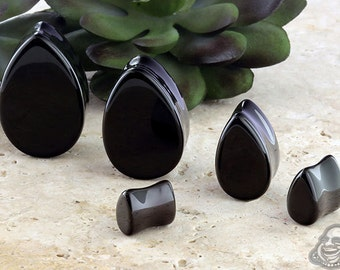 "Black Agate Teardrop plugs 0g, 00g, 12mm, 9/16"", 5/8"", 11/16"", 3/4"", 13/16"", 7/8"", 15/16"", 1"" (25mm)"