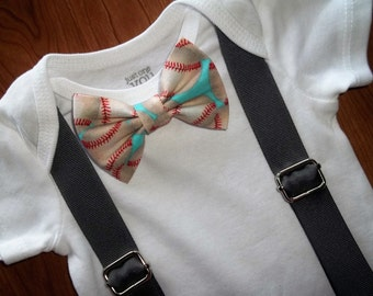 Baseball Bow Tie & Suspender Snap Accessory Set