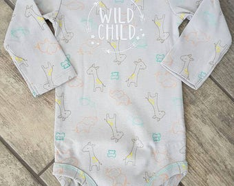SALE - Reg. 16 dollars - Wild Child - animals - gender neutral baby bodysuit - ONE OF A Kind - baby accessories - size 6-12 months