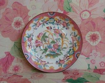 Vintage 1900s Edwardian Sarreguemines Handpainted Porcelain Saucer - French Bone China - Minton Pink Blossoms
