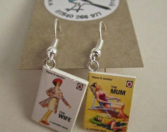 """The Wife & The Mum  Book Earrings from """"The Earring Library"""""""