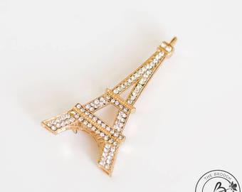 Eiffel tower brooch pin, gold plated brooch, rhinestone broach, eiffel tower decor, eiffel tower broach, paris inspired brooch