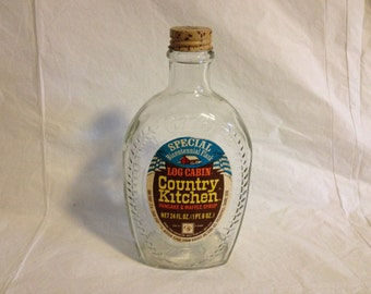 Log Cabin Bicentennial Flask Country Kitchen Pancake and Waffle Syrup