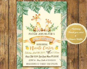 Digital File or Printed Giraffe Baby Shower Invitation-Safari Baby Shower Invitation-Yellow Giraffe-Printable Safari Burlap-Gender Neutral-