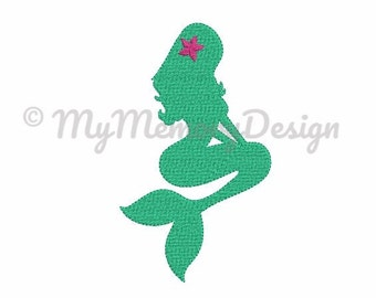 6 size Mermaid embroidery design - Full stitch embroidery design  - Nautical embroidery design - Mini embroidery pattern - INSTANT DOWNLOAD
