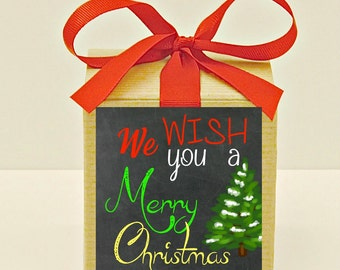 Christmas Party, WE WISH You A Merry Christmas Gift Boxes, Christmas Favors, Teacher Gifts, Co-workers, Neighbor Gifts, Stocking Stuffers