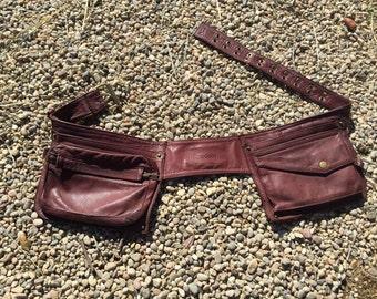 Leather Belt Bag, hands free utility belt for holding iphone, glasses, make up, keys