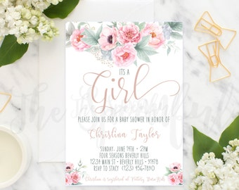 Floral Baby Shower Invitation, Girl Baby Shower Invitation, Baby Shower Invitation, Its a Girl Invitation