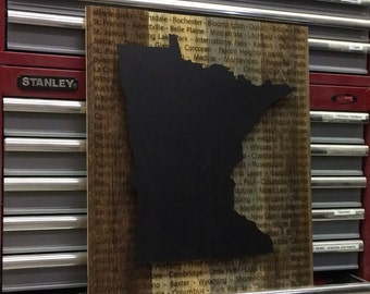 Minnesota Cities Wood Sign