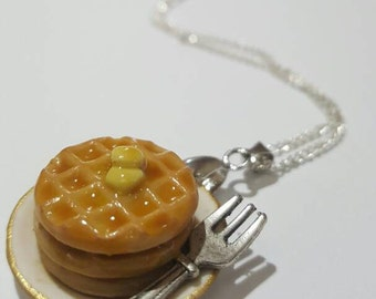 Miniature Food Polymer Clay Necklace: Pancakes, Waffles, Spaghetti, Cake Slice, Sushi