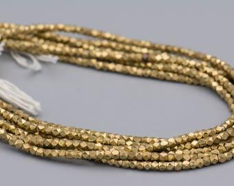 220 - Cornerless Cube 4mm - Diamond Cut Brass Beads