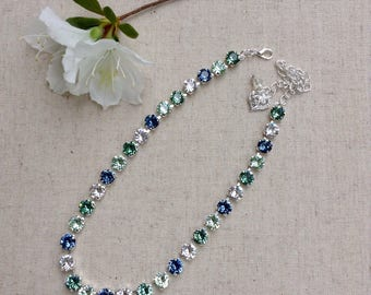 Swarovski Crystal Necklace - blue and green necklace, crystal choker, sparkly necklace, bridesmaid gift, gift for her, Mothers Day gift