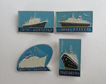 Badges with ships, soviet ships, soviet badges, pins, civil ships, large ship, badges, liners, vessel, badge with veseel, boat