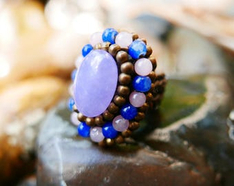 Violet Blue Gold Art Beaded Rings braided with Rope I Hand Crafted Fantasy Beads Accessories